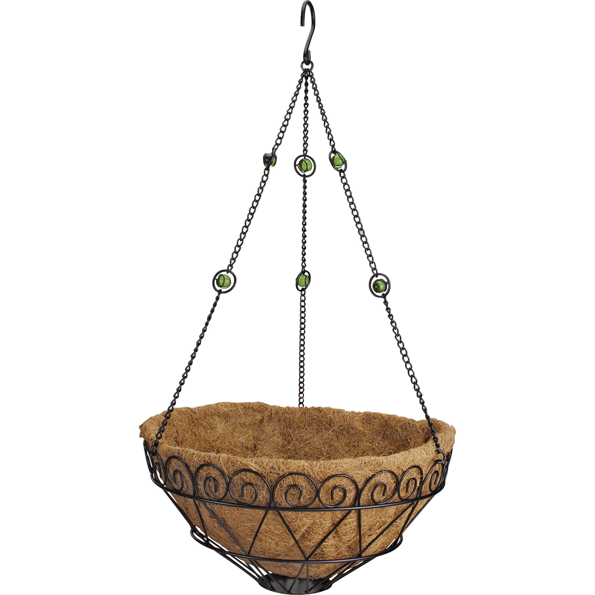 Picture of Landscapers Select T0017-3L Hanging Planter with Coconut Fiber Liner, Circle, 22 lb Capacity, Natural Coconut/Steel