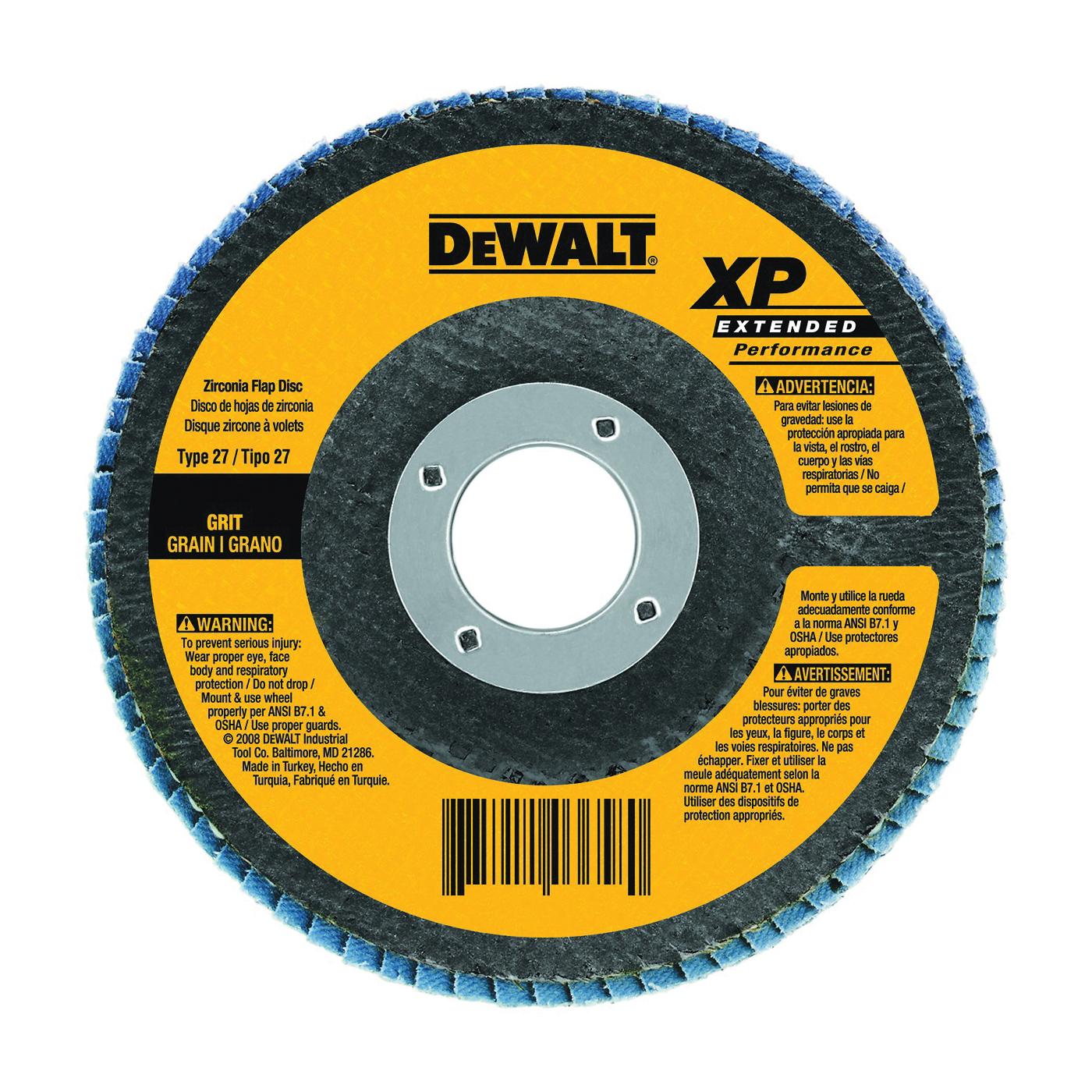 Picture of DeWALT DW8312 Flap Disc, 4-1/2 in Dia, 5/8-11 Arbor, Coated, 60 Grit, Zirconium Oxide Abrasive