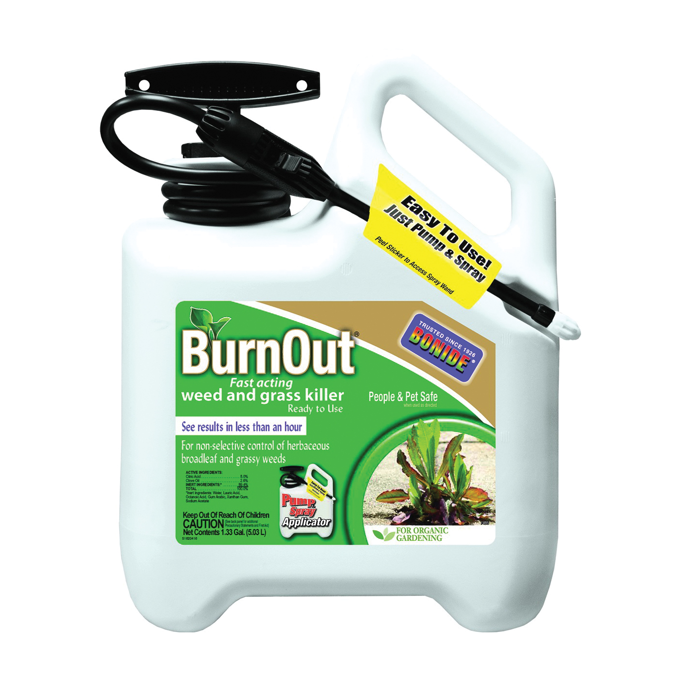 Picture of Bonide 7495 Weed and Grass Killer, Liquid, Light Yellow/White, 1.33 gal Package