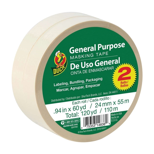 Picture of Duck 394693 Masking Tape, 60 yd L, 0.94 in W, Beige, 2