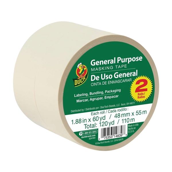 Picture of Duck 394700 Masking Tape, 60 yd L, 1.88 in W, Beige, 2