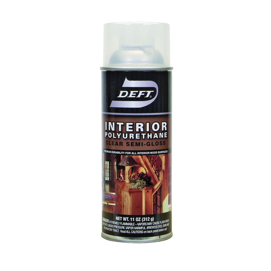 Picture of DEFT 224-13 Polyurethane Paint, Semi-Gloss, Liquid, Amber, 11 oz, Aerosol Can