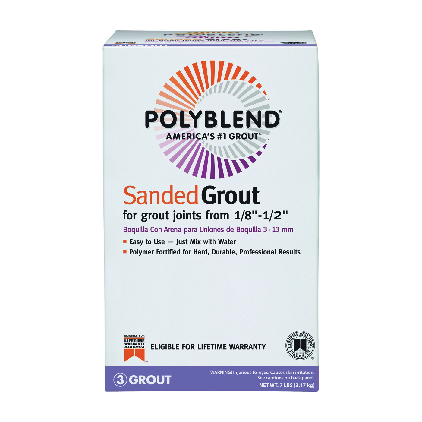 Picture of CUSTOM PBG1567-4 Tile Grout, Powder, Characteristic, Fawn, 7 lb Package, Box
