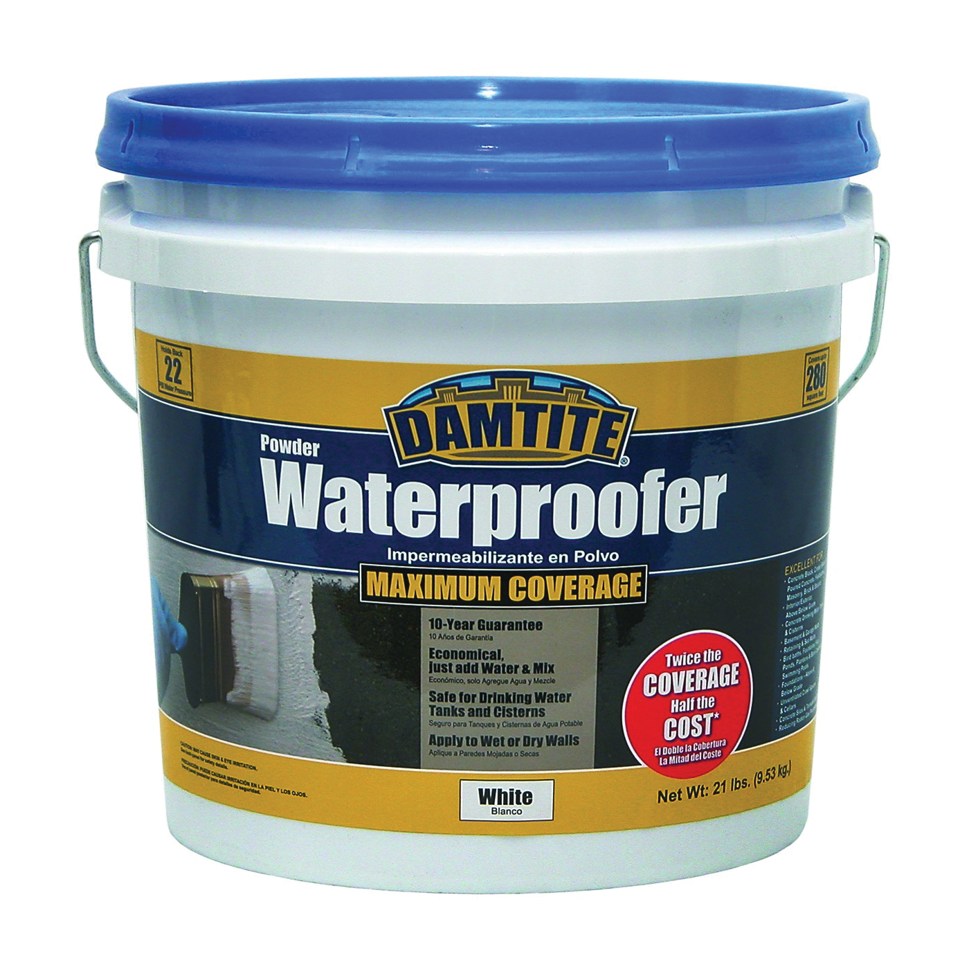Picture of DAMTITE 01211 Powder Waterproofer, White, Powder, 21 lb Package, Pail
