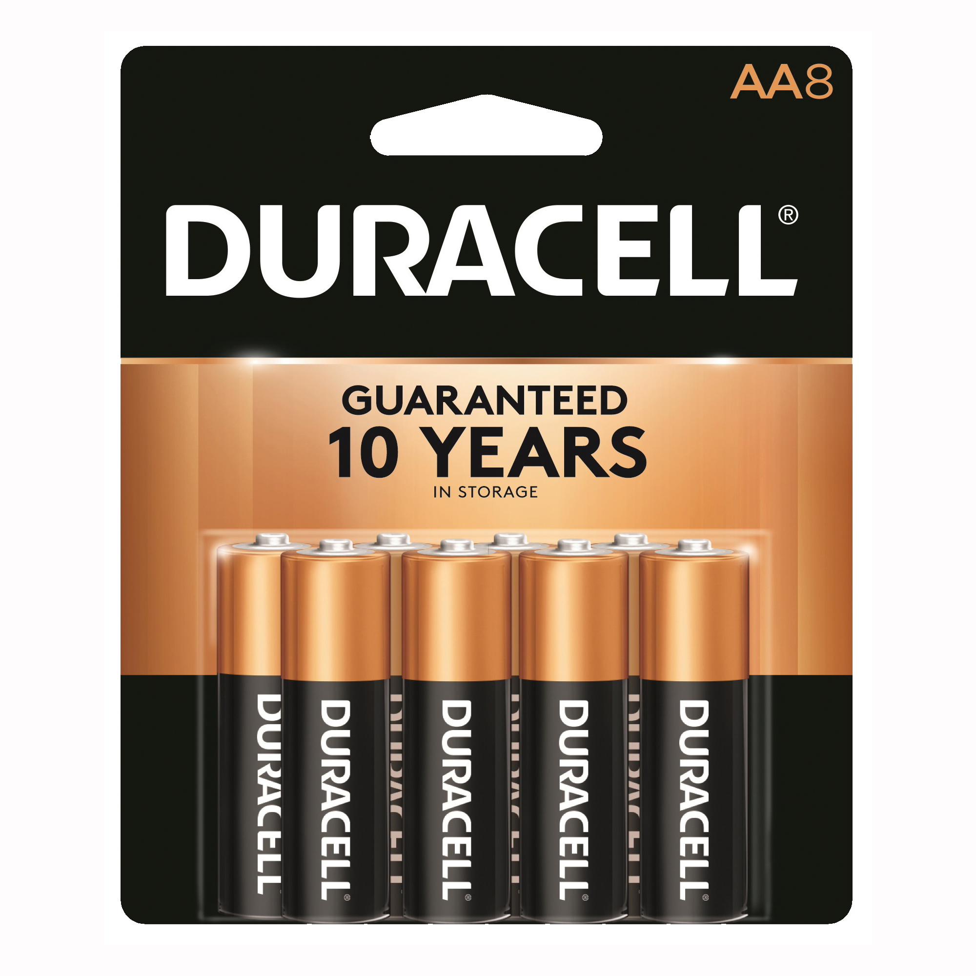 Picture of DURACELL COPPERTOP MN15B8ZTSS Alkaline Battery, 1.5 V Battery, AA Battery, Manganese Dioxide, 8