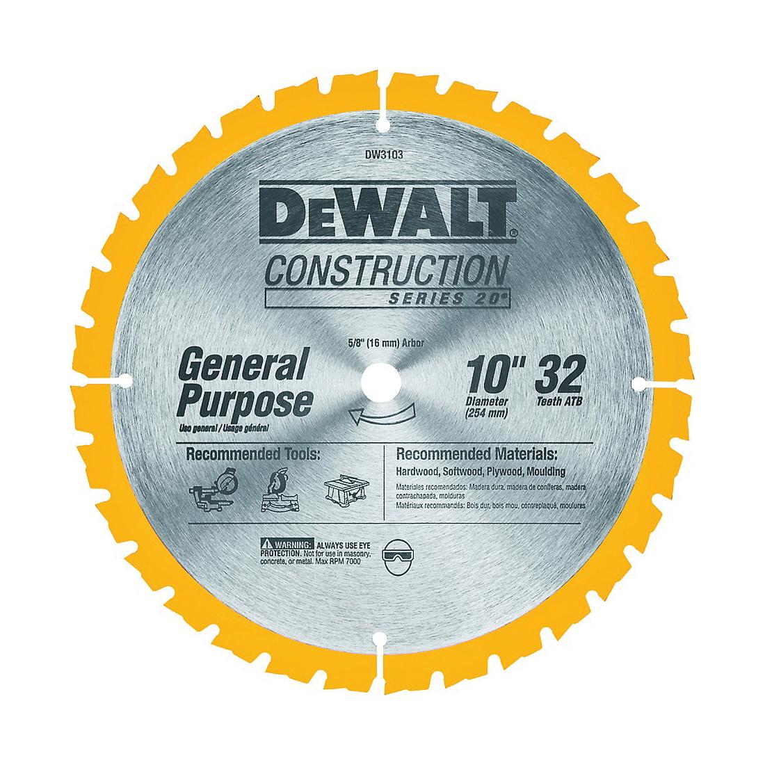 Picture of DeWALT DW3103 Saw Blade, 10 in Dia, 5/8 in Arbor, 32 -Teeth, Carbide Cutting Edge