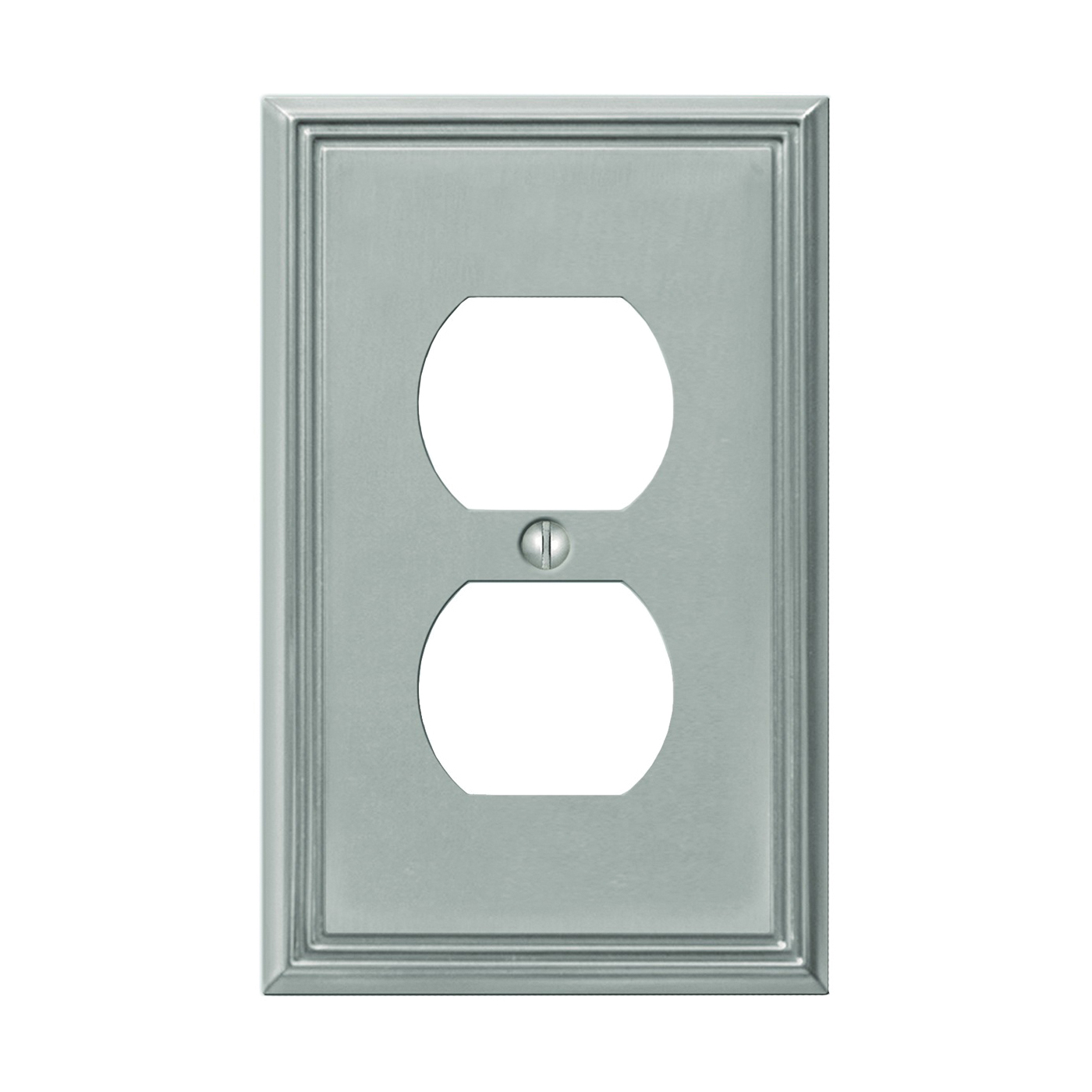 Picture of AmerTac Metro Line 77DBN Outlet Wallplate, 4-7/8 in L, 3 in W, 1-Gang, Metal, Brushed Nickel, Wall Mounting