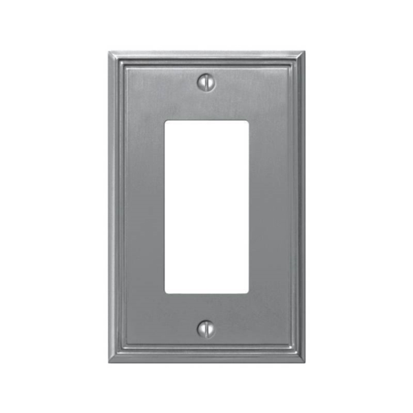 Picture of AmerTac Metro Line 77RBN Rocker Wallplate, 4-7/8 in L, 3 in W, 1-Gang, Metal, Brushed Nickel