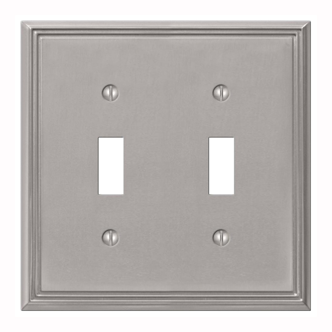 Picture of Amerelle 77TTBN Wallplate, 4-3/4 in L, 4-3/4 in W, 2-Gang, Metal, Brushed Nickel