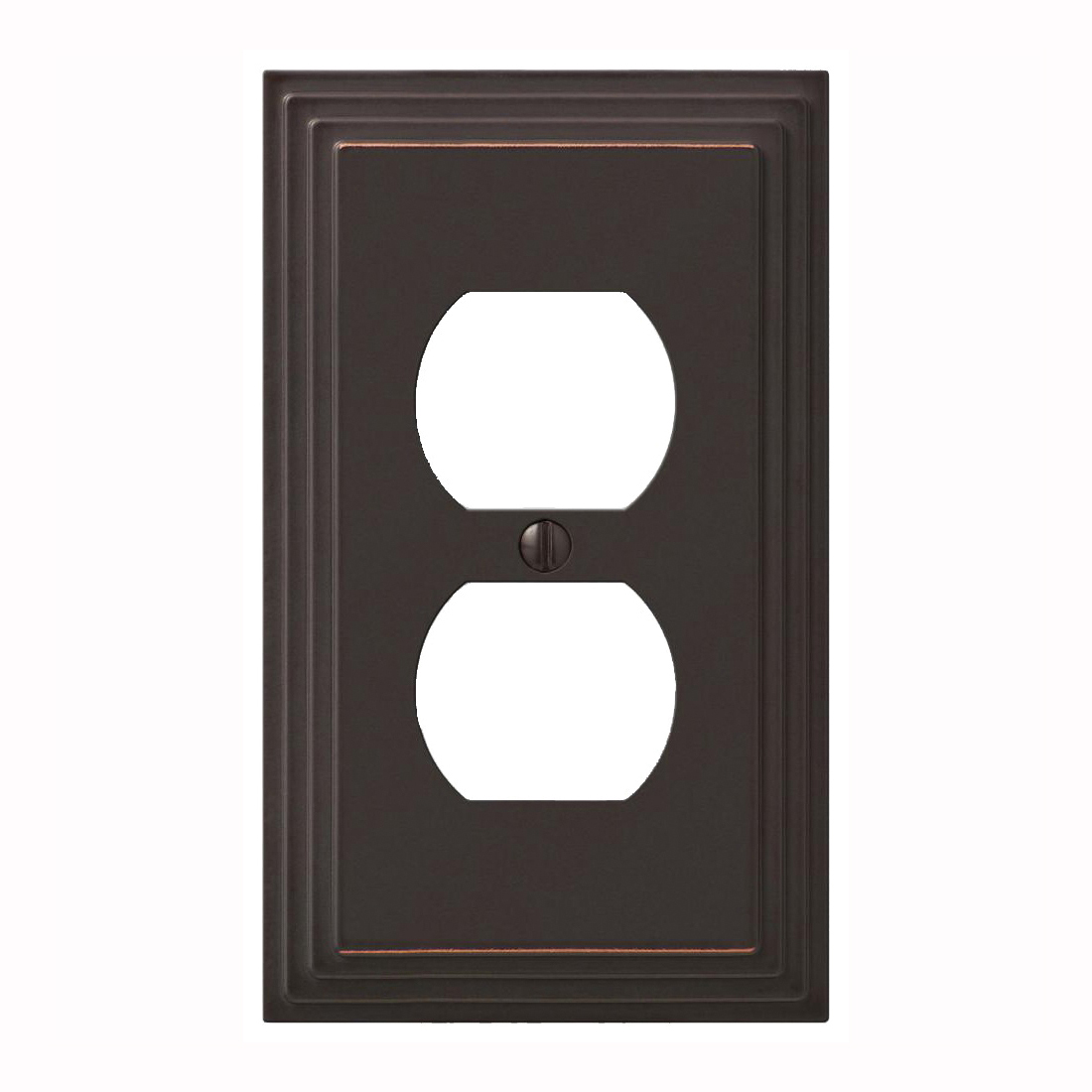 Picture of Amerelle 84DVB Duplex Receptacle Wallplate, 4-5/16 in L, 2-15/16 in W, 1-Gang, Metal, Aged Bronze
