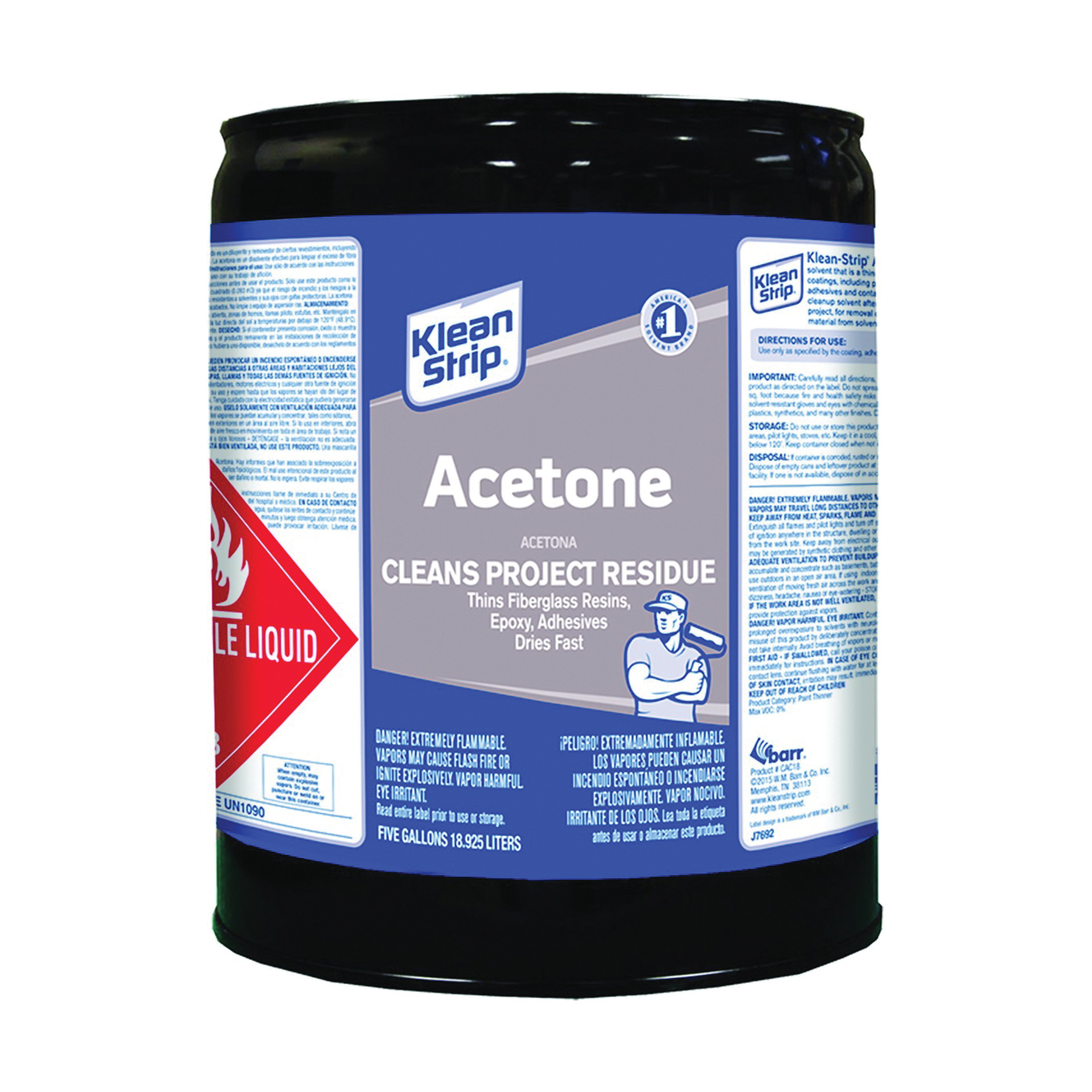 Picture of Klean Strip CAC18 Acetone Thinner, Liquid, Characteristic Ketone, Sweet Pungent, Clear, 5 gal, Can
