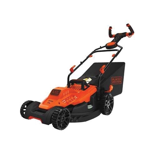 Picture of Black+Decker BEMW482ES Electric Lawn Mower, 12 A, 17 in W Cutting, Winged Blade