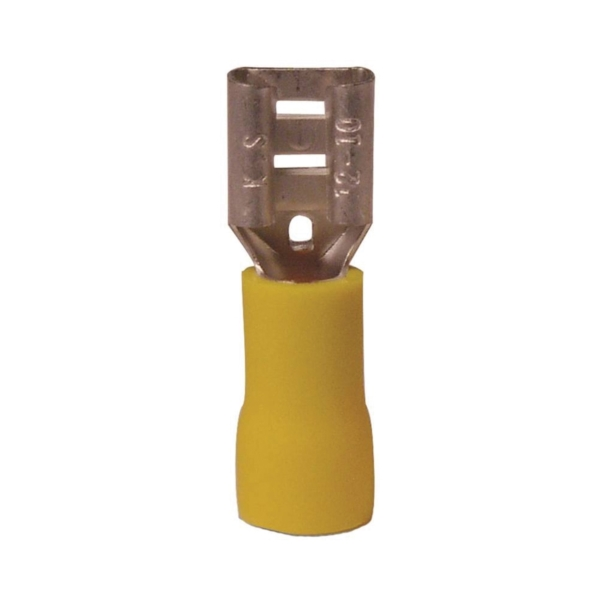 Picture of GB 10-145F Disconnect Terminal, 600 V, 12 to 10 AWG Wire, 1/4 in Stud, Vinyl Insulation, Yellow, 100/Clam