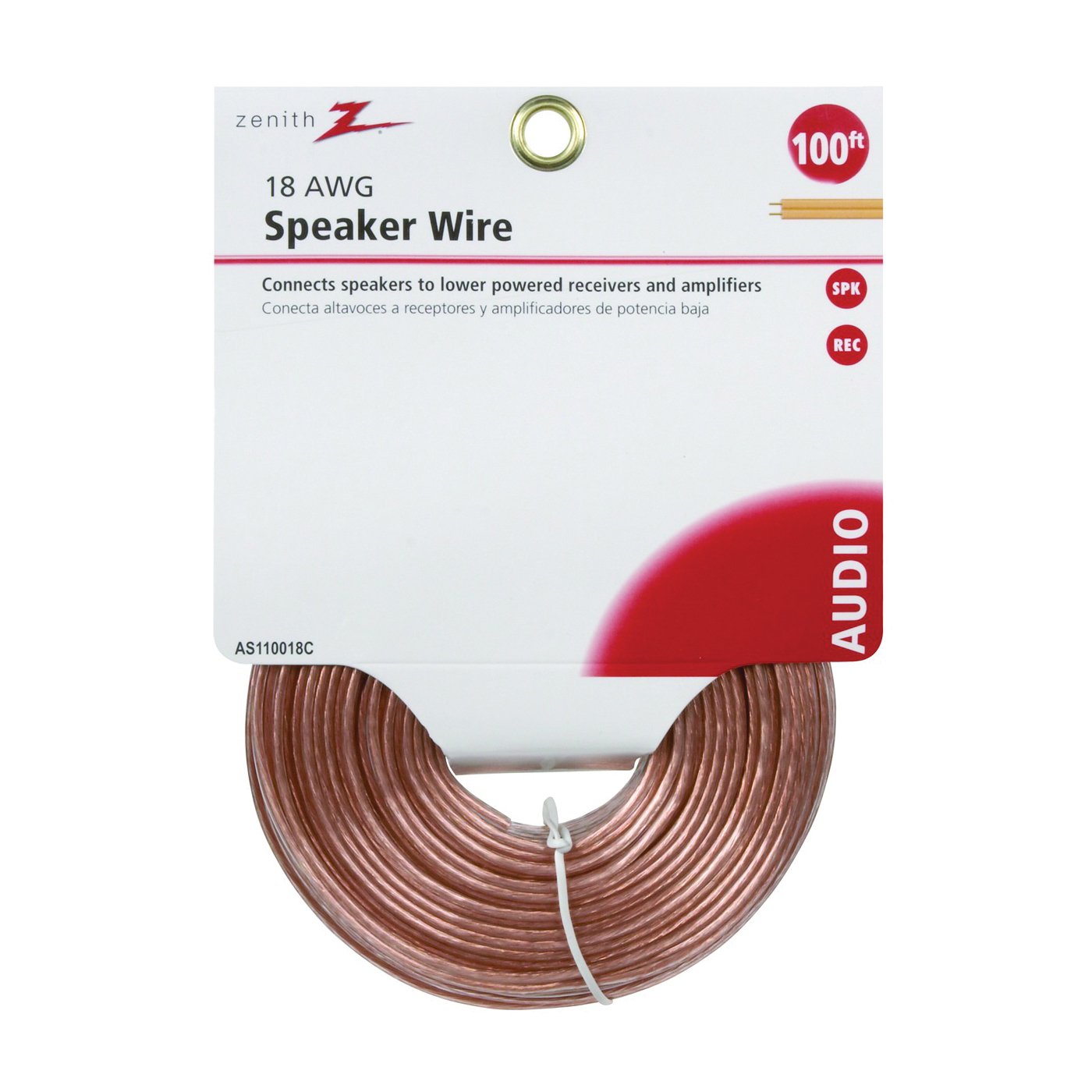 Picture of Zenith AS110018C Speaker Wire, 18 AWG Wire, PVC Sheath, Clear Sheath