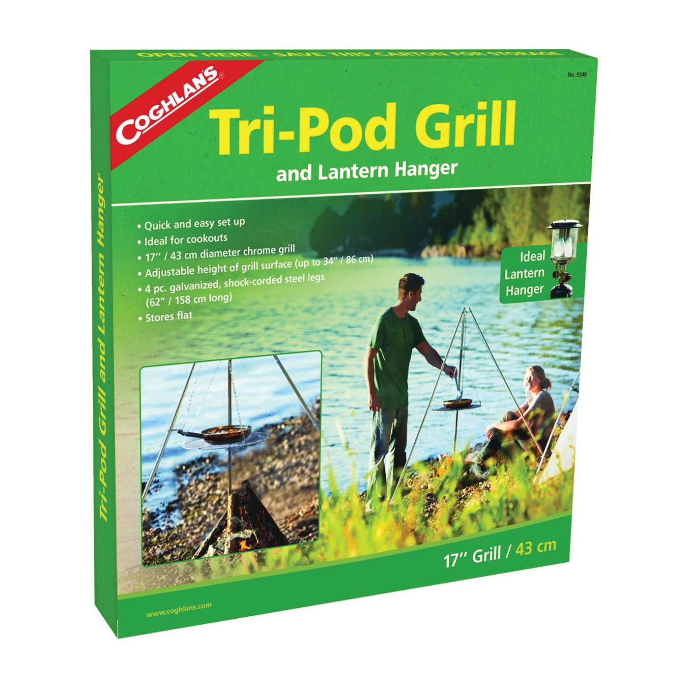 Picture of COGHLAN'S 9340 Tri-Pod Grill Adjustable to 34 in H, Galvanized Steel