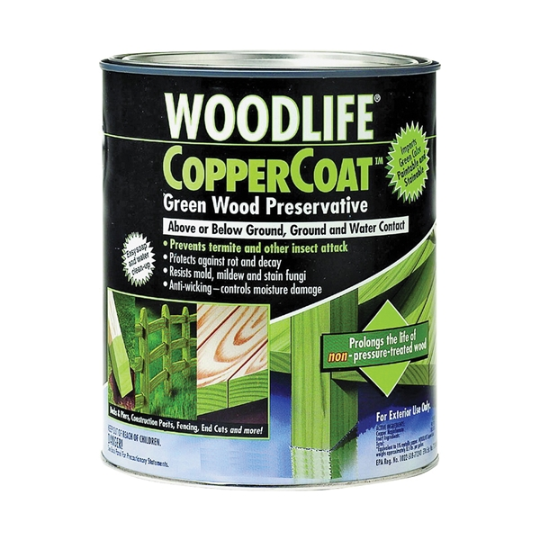 Picture of WOLMAN WoodLife CopperCoat 1904A Wood Preservative, Green, Liquid, 1 qt, Can