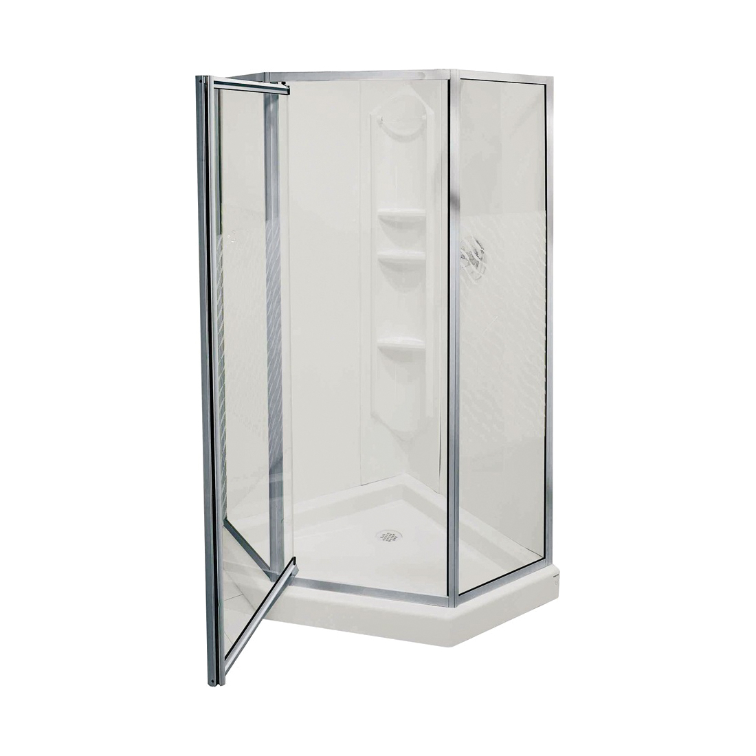 Picture of MAAX Himalaya 101694-000-129-107 Shower Kit, 38 in L, 38 in W, 74-1/4 in H, Polystyrene, Chrome, 3-Wall Panel