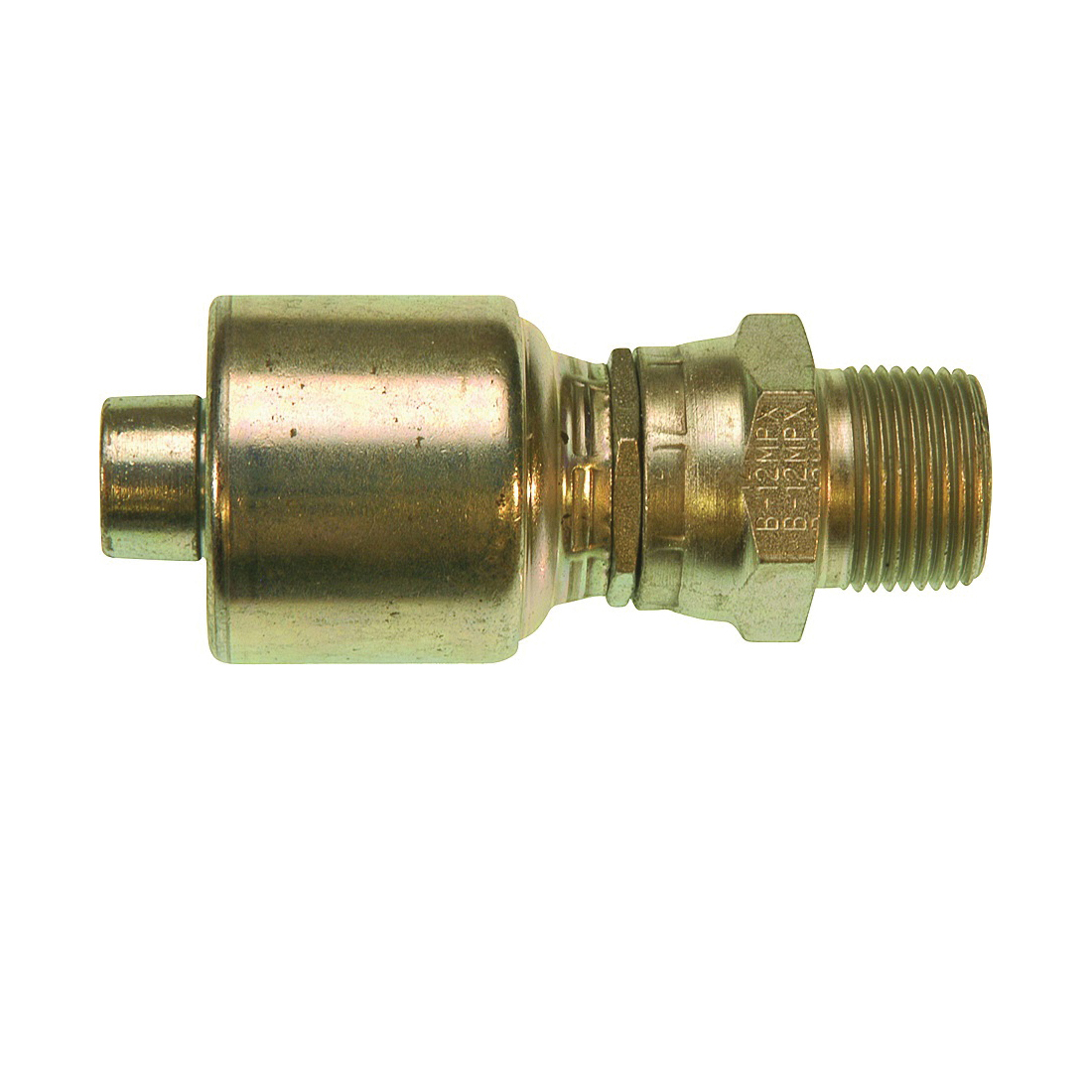 Picture of GATES MegaCrimp G25105-0604 Hose Coupling, 1/4-18, Crimp x NPTF, Straight Angle, Steel, Zinc