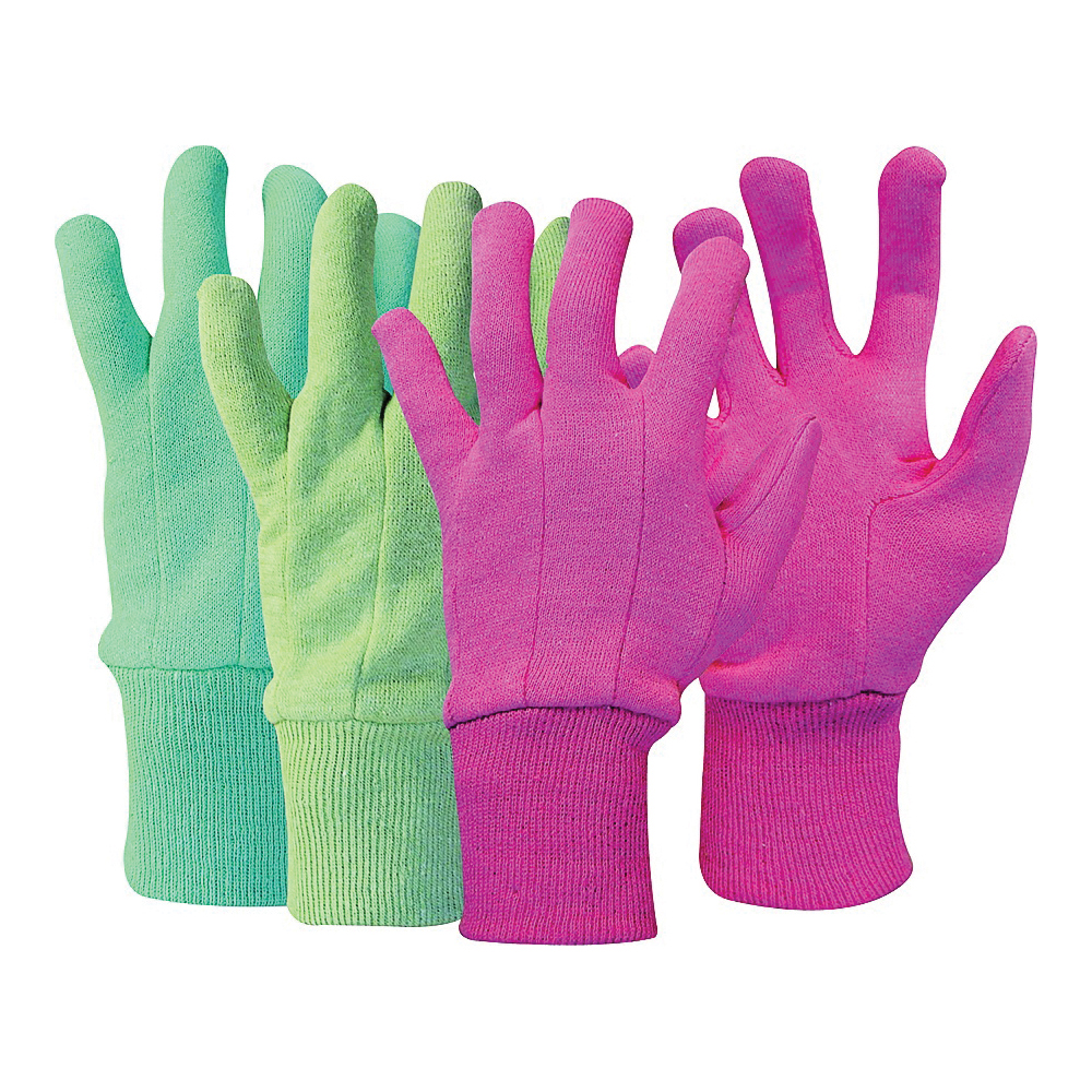 Picture of BOSS 419 General-Purpose Protective Gloves, Knit Wrist Cuff, Polyester, Blue/Green/Pink