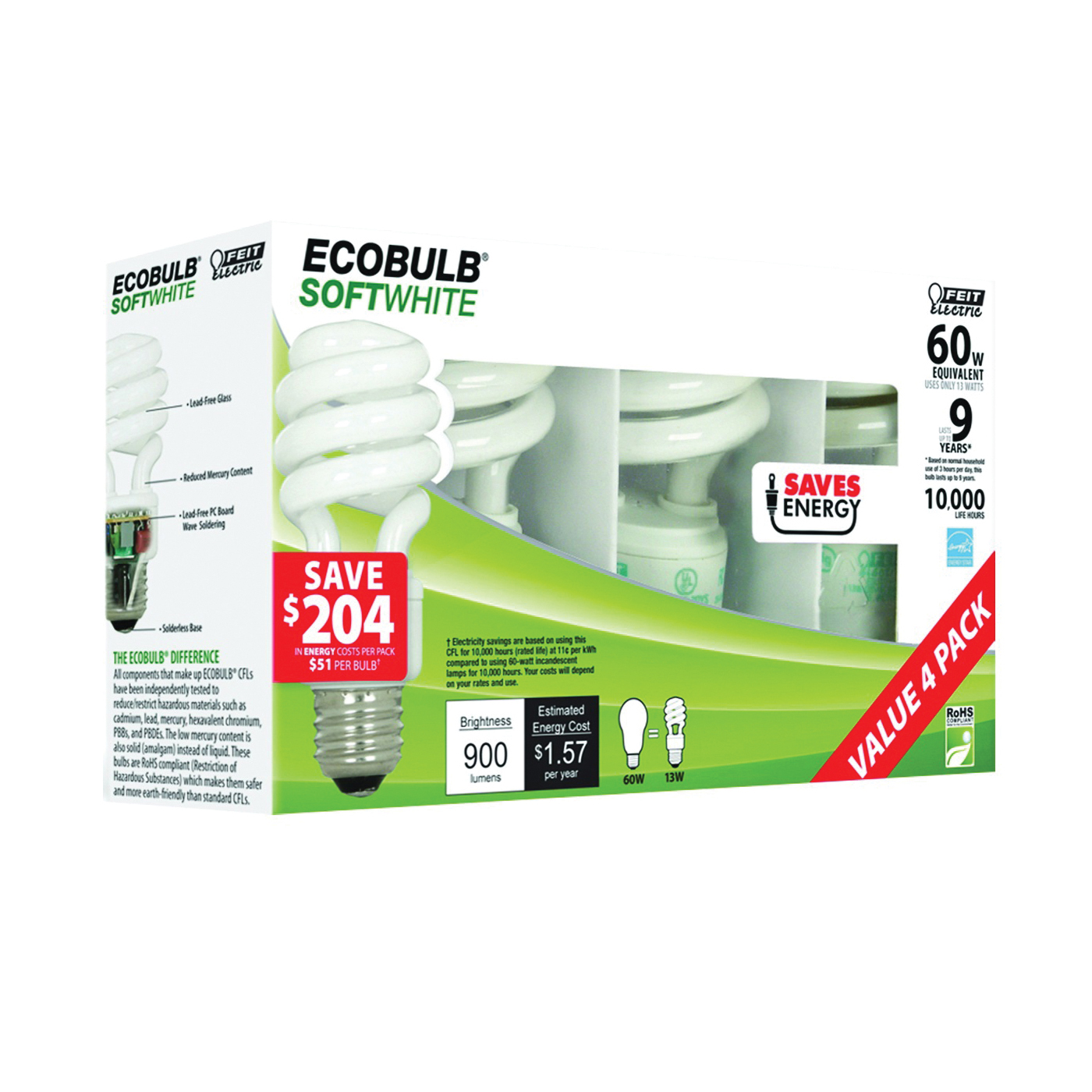 Picture of Feit Electric ESL13T/4 Compact Fluorescent Bulb, 13 W, Spiral Lamp, Medium E26 Lamp Base, 900 Lumens