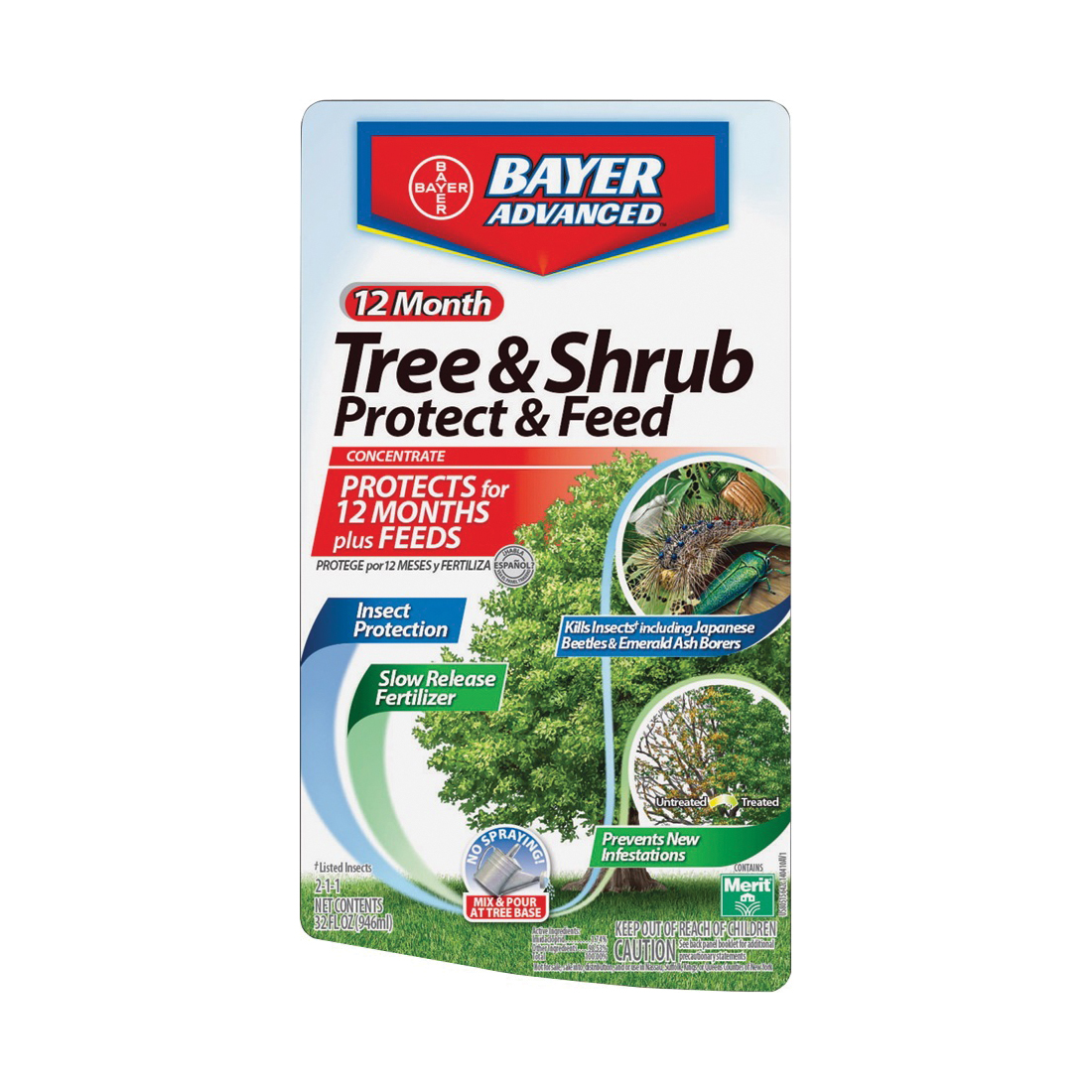 Picture of BioAdvanced 701810M Tree and Shrub Protect and Feed, Liquid, 32 oz Package, Bag