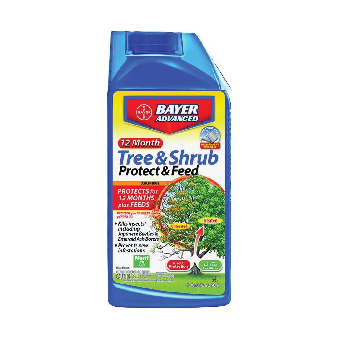 Picture of BioAdvanced 701901A Tree and Shrub Protect and Feed, Liquid, 32 oz Package, Bottle