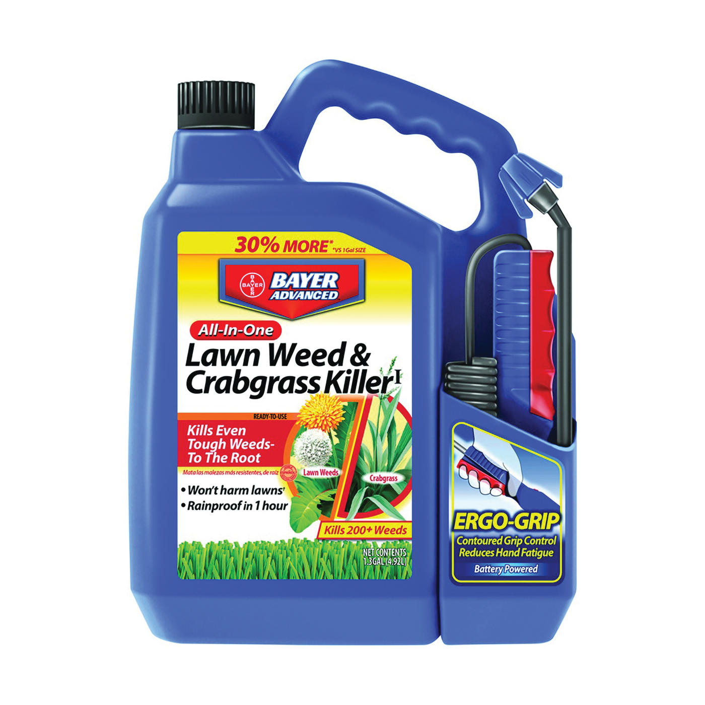 Picture of BioAdvanced 704138A Weed and Crabgrass Killer, Liquid, Black/Brown, 1.3 gal Package