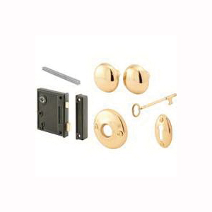 Picture of Prime-Line E 2437 Case Lock and Keeper, Skeleton Key, Die-Cast Steel, Brass, 2-1/2 in Backset