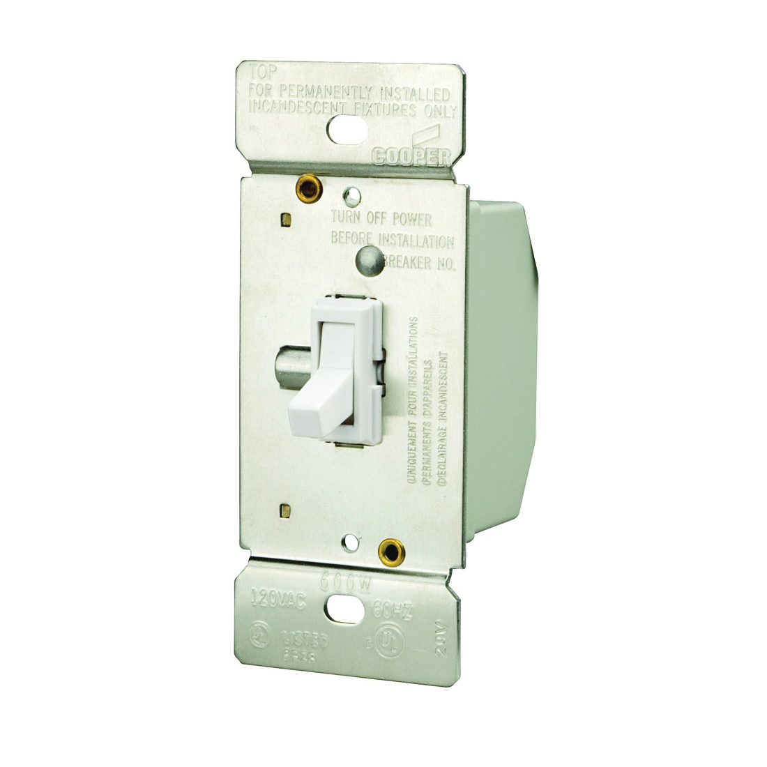 Picture of Eaton Wiring Devices TI306-W-K Toggle Dimmer, 5 A, 120 V, 600 W, CFL, Halogen, Incandescent, LED Lamp, 3-Way
