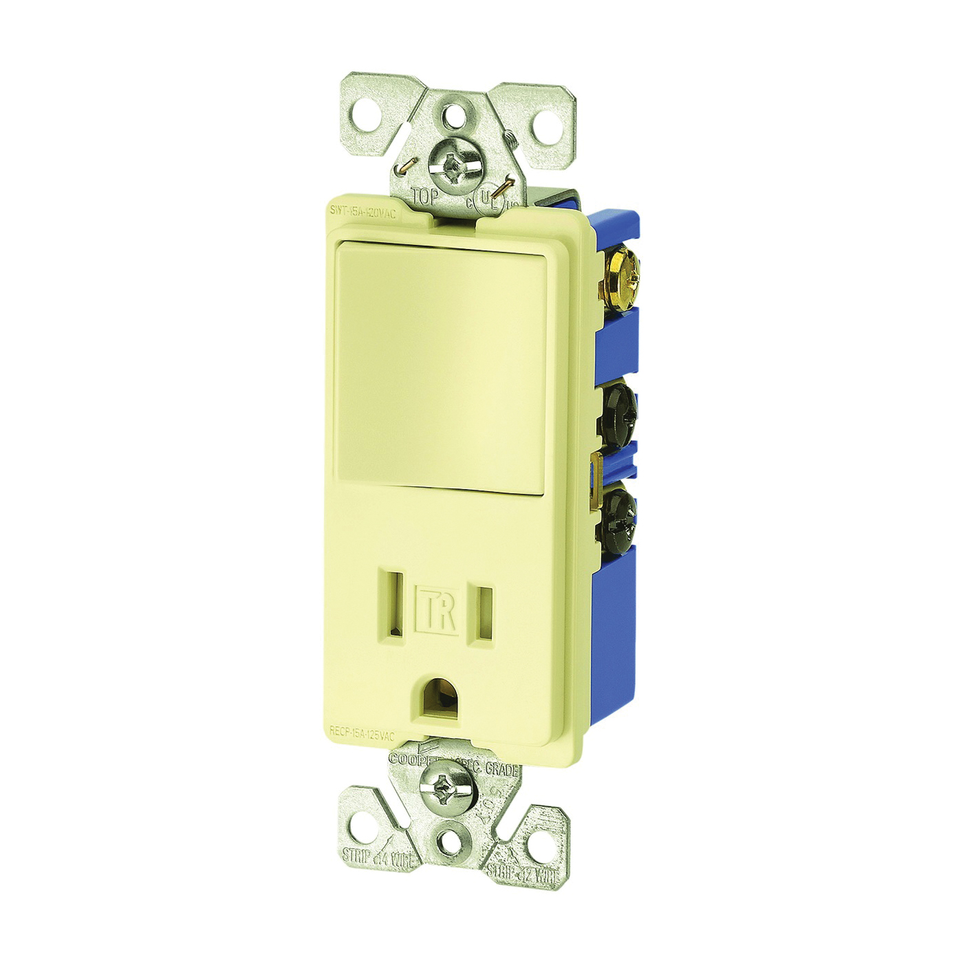 Picture of Eaton Cooper Wiring TR7730V Combination Switch/Receptacle, 1-Pole, 15 A, 120/277 V, Ivory