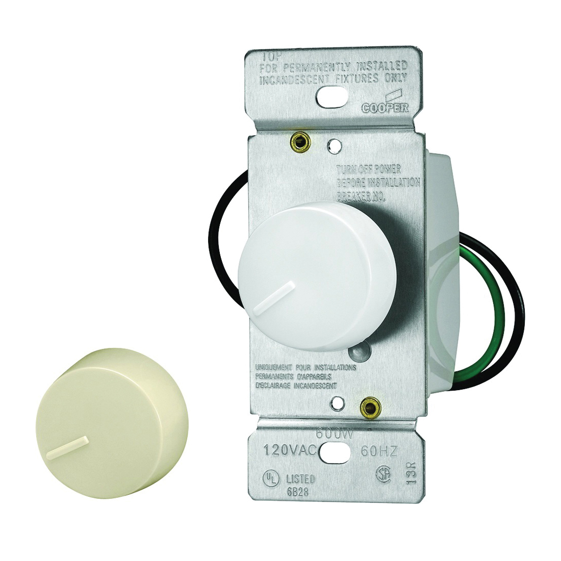 Picture of Eaton Wiring Devices RI061-VW-K2 Rotary Dimmer, 120 V, 600 W, Halogen, Incandescent Lamp, 3-Way, Ivory/White