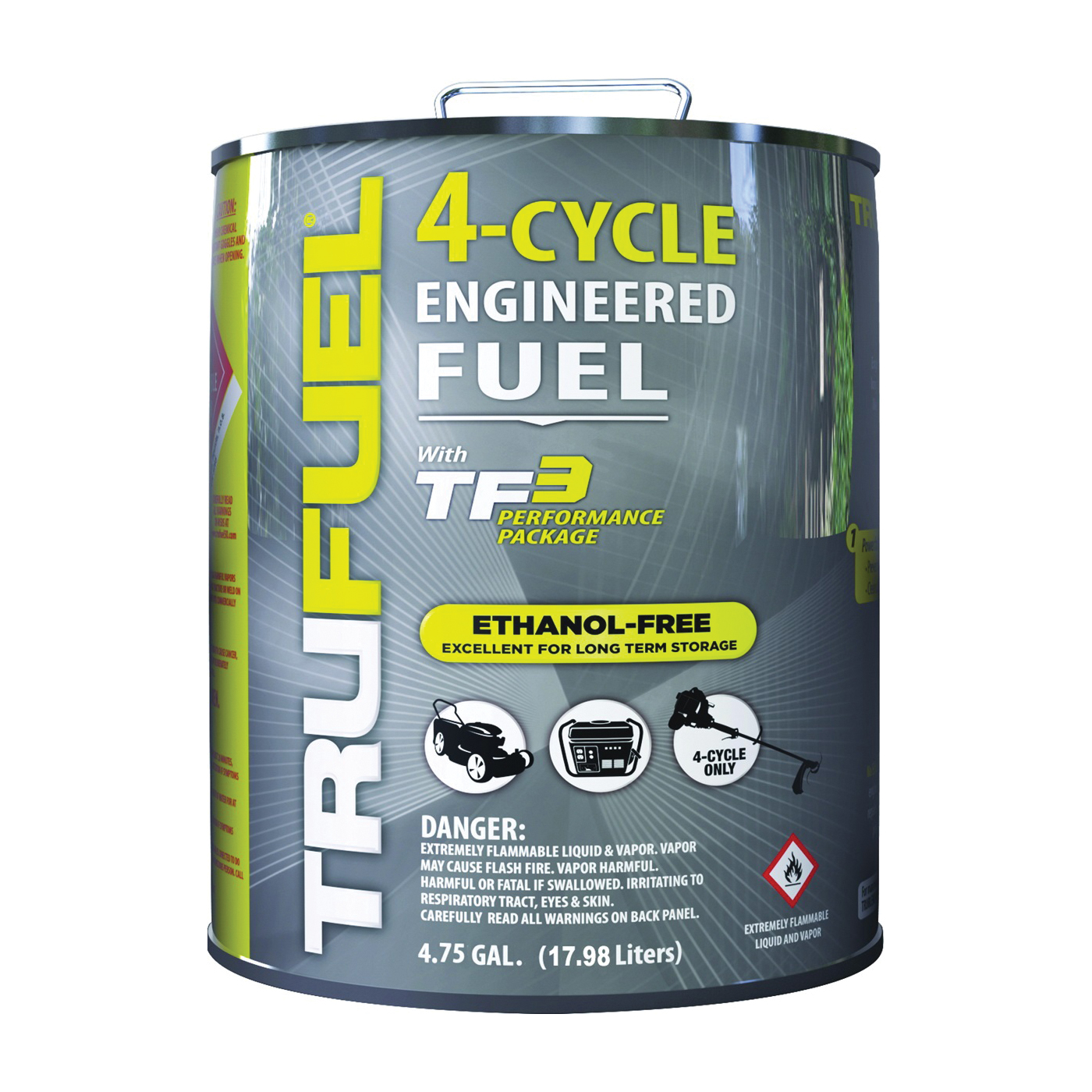 Picture of TRUFUEL 6527214 4-Cycle Fuel, Liquid, Hydrocarbon, Clear, 4.75 gal Package, Can