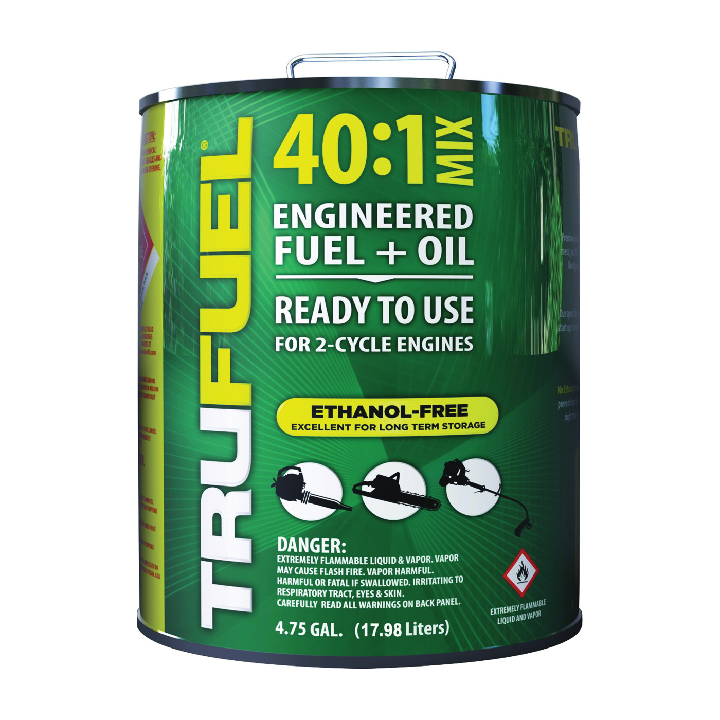 Picture of TRUFUEL 6525514 Pre-Mixed Fuel, Liquid, Hydrocarbon, Green, 4.75 gal Package, Can