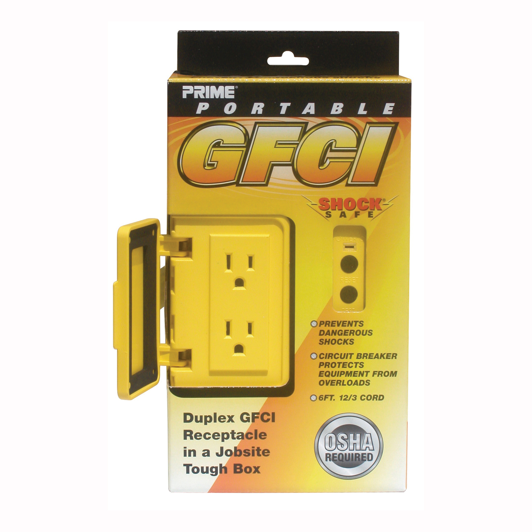Picture of Prime GF200806 Straight Plug Junction Box, 125 V, 15 A, Yellow