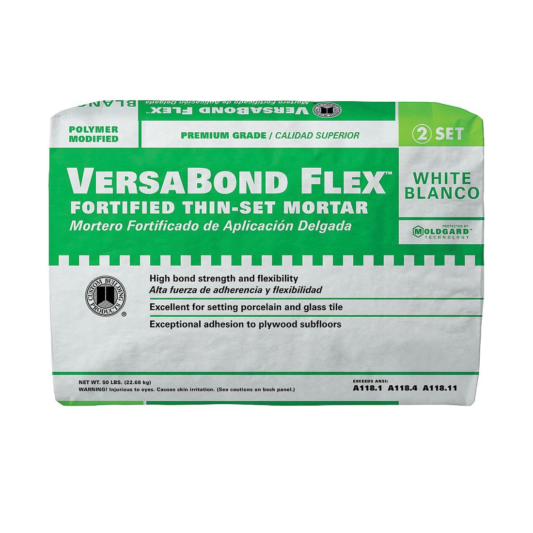 Picture of CUSTOM VersaBond Flex VBFW50 Thin-Set Mortar, White, Powder, 50 lb Package, Bag