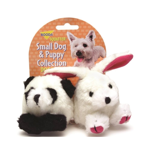 Picture of booda 0353596 Dog and Puppy Squatters, S, Panda, Rabbit, Synthetic Plush Fabric, Multi-Color