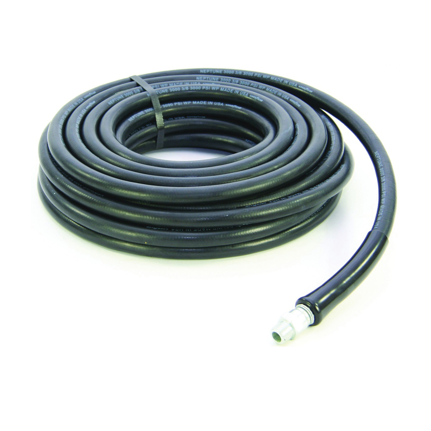 Picture of ABBOTT RUBBER 1190-0375-50 Pressure Washer Hose Assembly, 50 ft L, NPT Male x Male Swivel, Rubber, Black