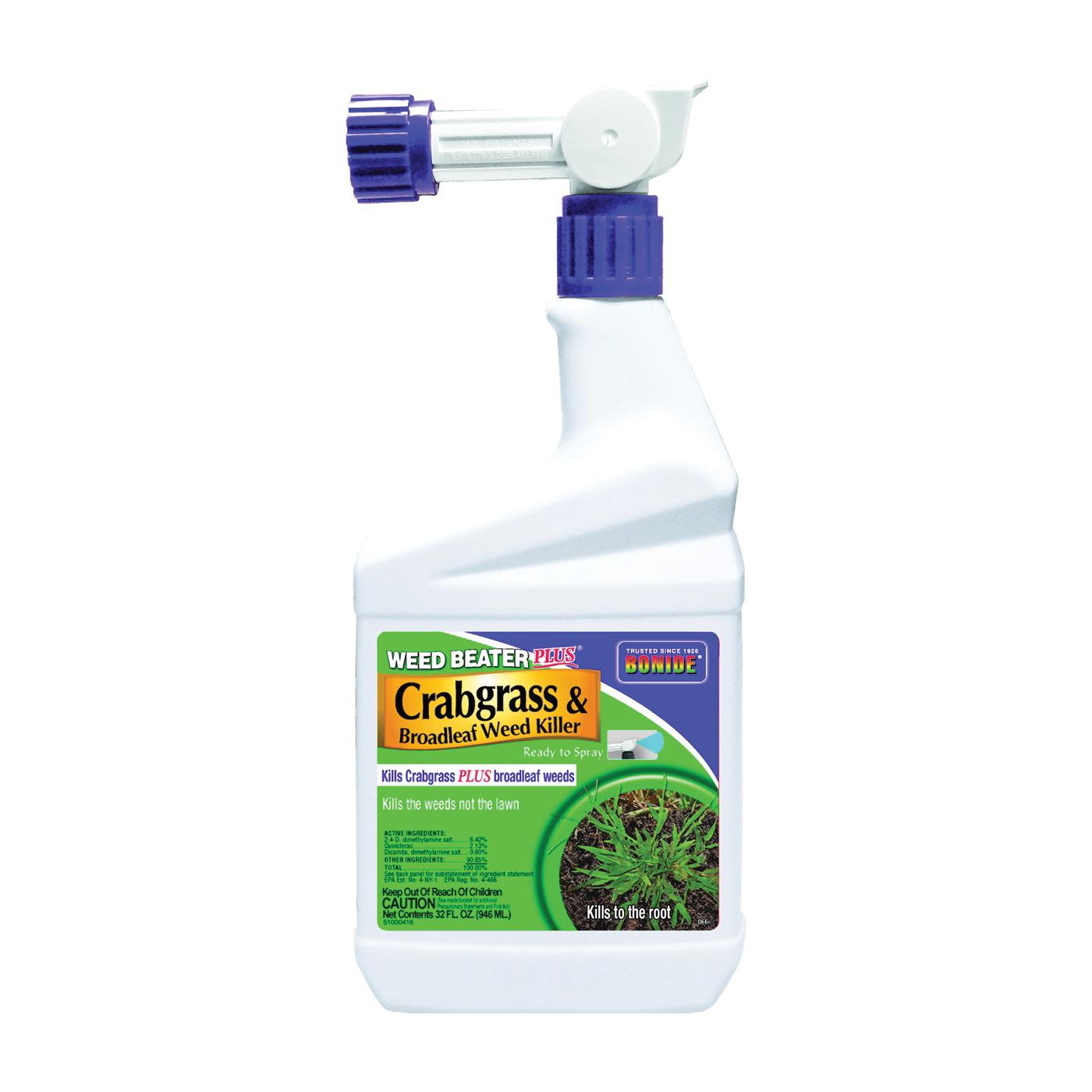 Picture of Bonide 066 Crabgrass and Broadleaf Weed Killer, Liquid, Black/Brown, 1 qt Package, Bottle