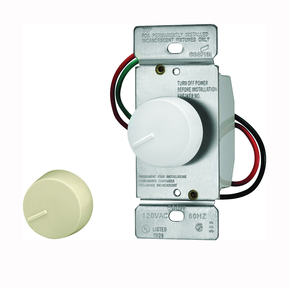 Picture of Eaton Wiring Devices RI306P-VW-K2 Rotary Dimmer, 20 A, 120 V, 600 W, 3-Way, Ivory/White
