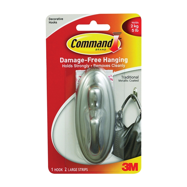 Picture of Command 17053BN Decorative Hook, 5 lb, 1-Hook, Plastic, Silver, Brushed Nickel, 3, Pack