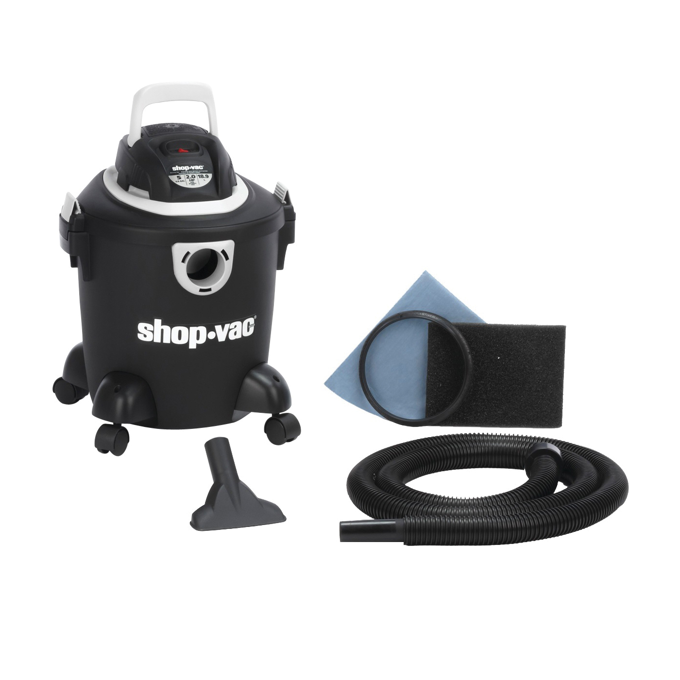 Picture of Shop-Vac Hardware 2030400 Wet/Dry Utility Vacuum, 5 gal Vacuum, Foam Sleeve Filter, 120 V