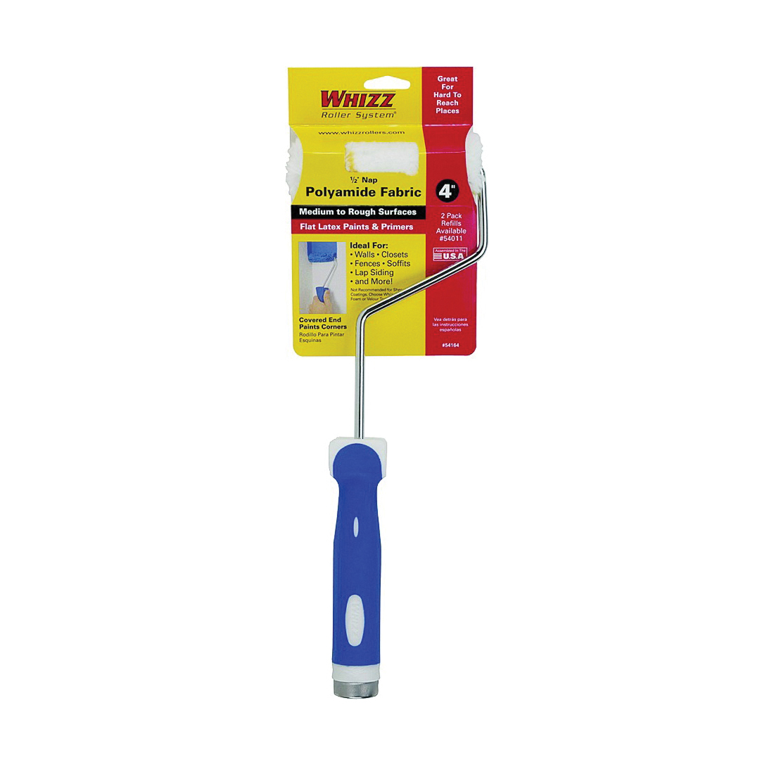 Picture of WHIZZ 54164 Mini Roller, 1/2 in Nap, Polyamide Cover, Soft Touch Handle, 4 in L Roller
