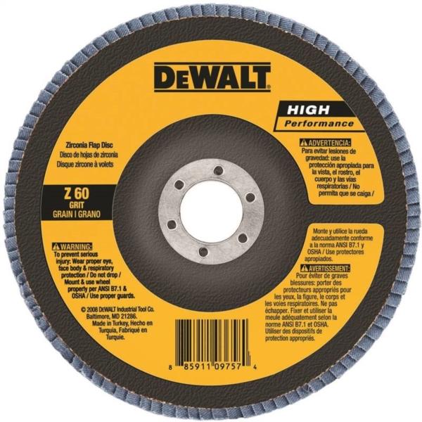 Picture of DeWALT DW8302 Flap Disc, 4 in Dia, 5/8 in Arbor, Coated, 60 Grit, Zirconium Oxide Abrasive, Fiberglass Backing