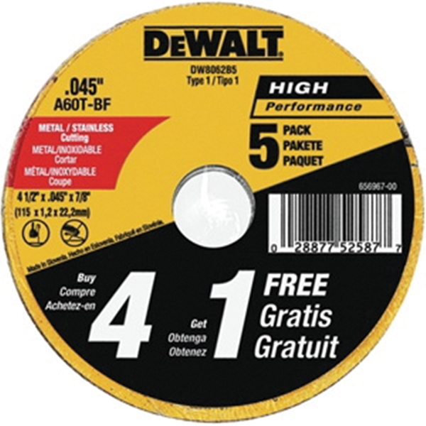 Picture of DeWALT DW8062B5 Cutting Wheel, 4-1/2 in Dia, 0.045 in Thick, 7/8 in Arbor, 60 Grit, Aluminum Oxide Abrasive