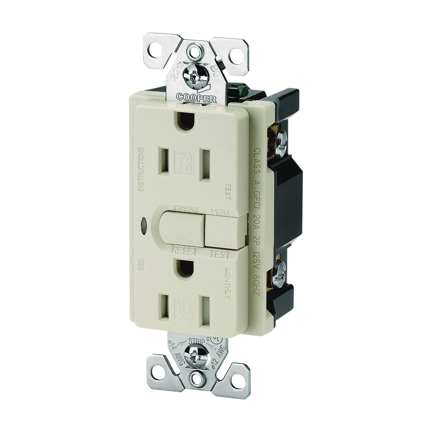Picture of Eaton Wiring Devices 9566TRSDS Duplex GFCI Receptacle, 2-Pole, 15 A, 125 V, Back, Side Wiring, NEMA: 5-15R