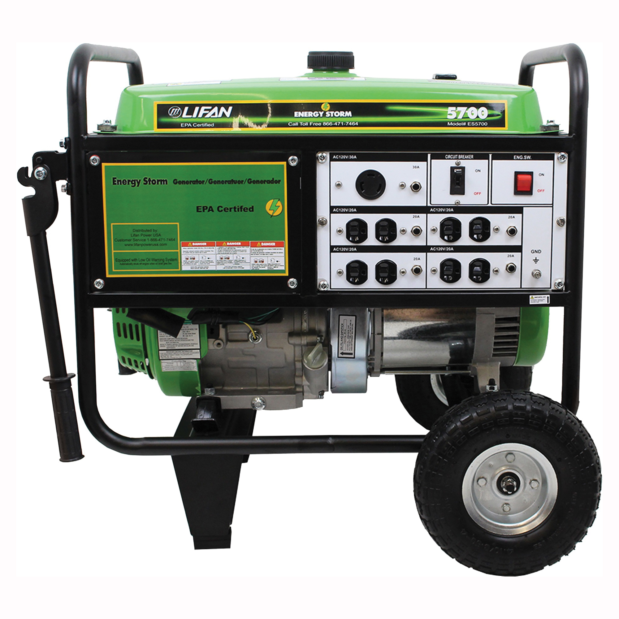 Picture of LIFAN ES5700 Portable Generator, 42.2 A, 120/240 V, 5700 W Output, Octane Gas, 6.5 gal Tank, 10 hr Run Time