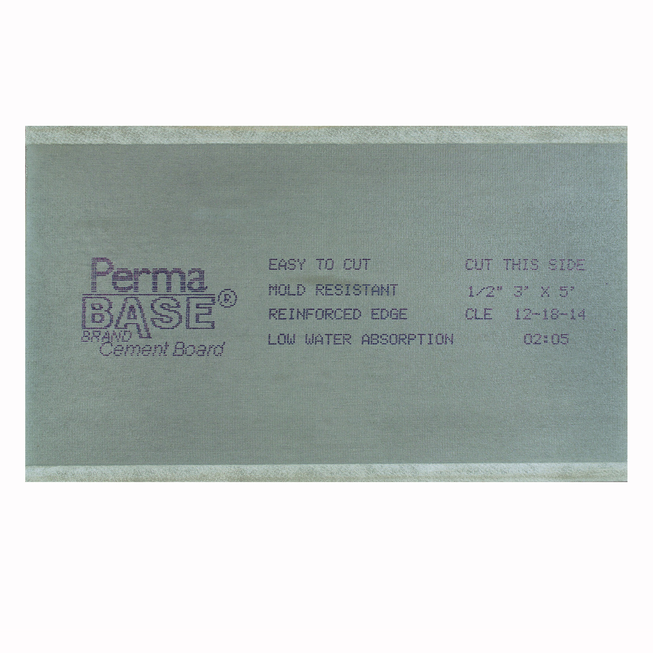 Picture of PermaBase CB36120500 Cement Backer Board, 5 ft L, 3 ft W, 1/2 in Thick, Plastic, Gray
