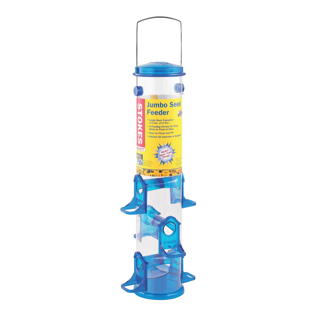 Picture of Stokes Select 38030 Seed Bird Feeder, 18 in H, 2.5 qt, Polycarbonate, Blue/Clear/Green, Hanging Mounting