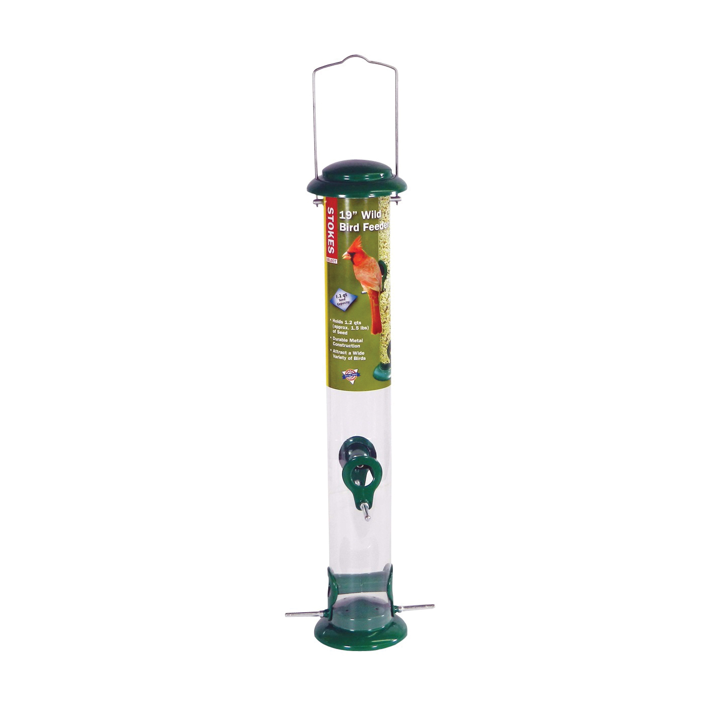 Picture of Stokes Select 38178 Wild Bird Feeder, 19 in H, 1.2 qt, Metal, Green, Polyester Powder-Coated