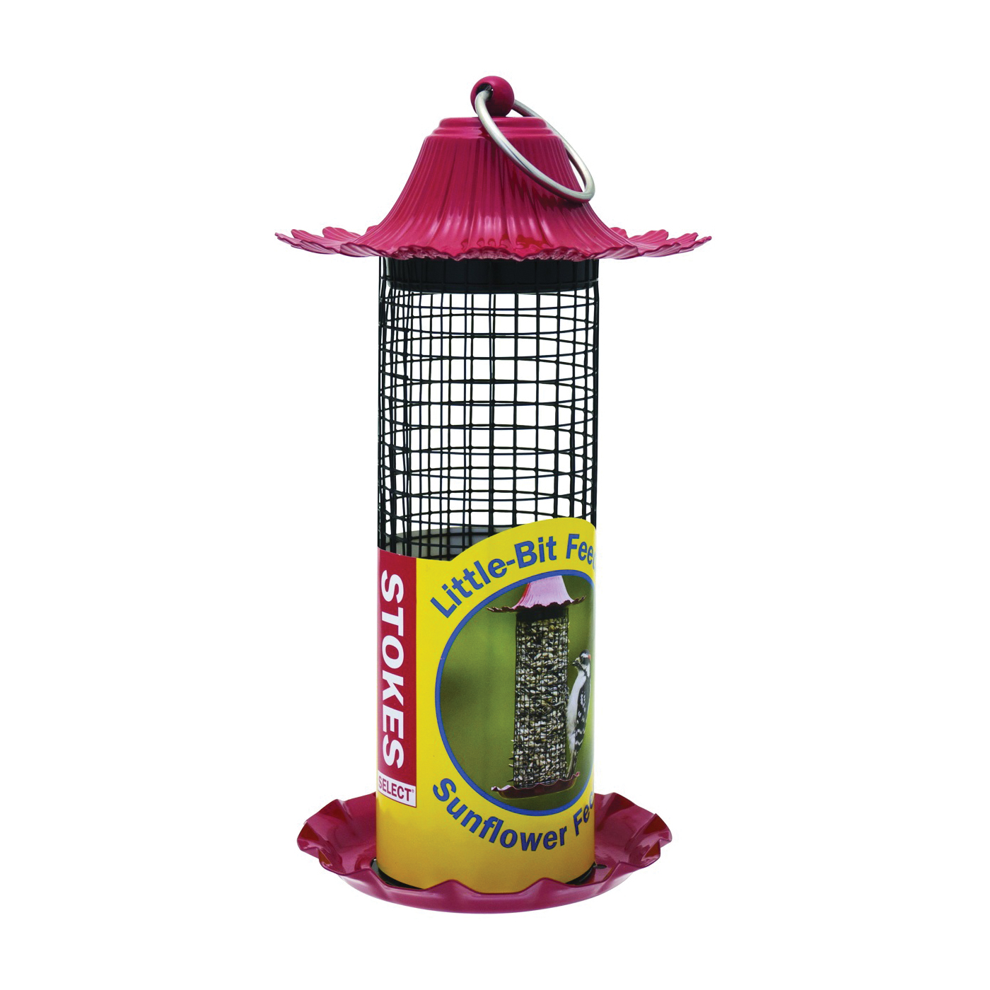 Picture of Stokes Select 38195-.5QT Sunflower Feeder, 8-13/32 in H, 0.5 qt, Metal, Red, Powder-Coated, Hanging Mounting